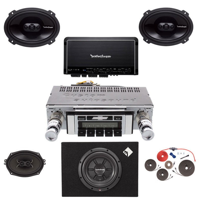 1964-1966 Chevy Pickup Truck Rockford Fosgate 5 Channel Stereo Kit with Subwoofer