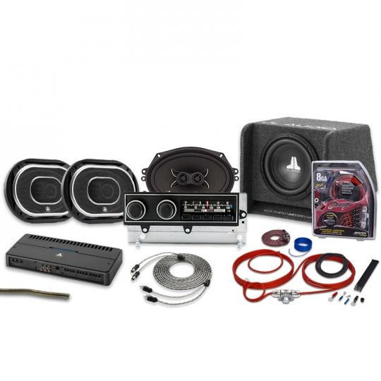 1972-1974 Mopar E Body Radio - Black Buttons with Bluetooth JL Audio Stereo  Kit