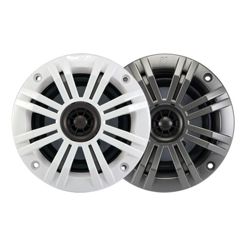 """Kicker KM4 4-Inch Marine Speakers w// 1//2/"""" Tweeters Charcoal and White Grilles"""