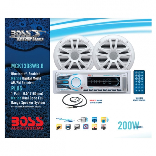 Boss Marine 2 Speaker Marine Stereo Package with DIN Head Unit and 2  Speakers