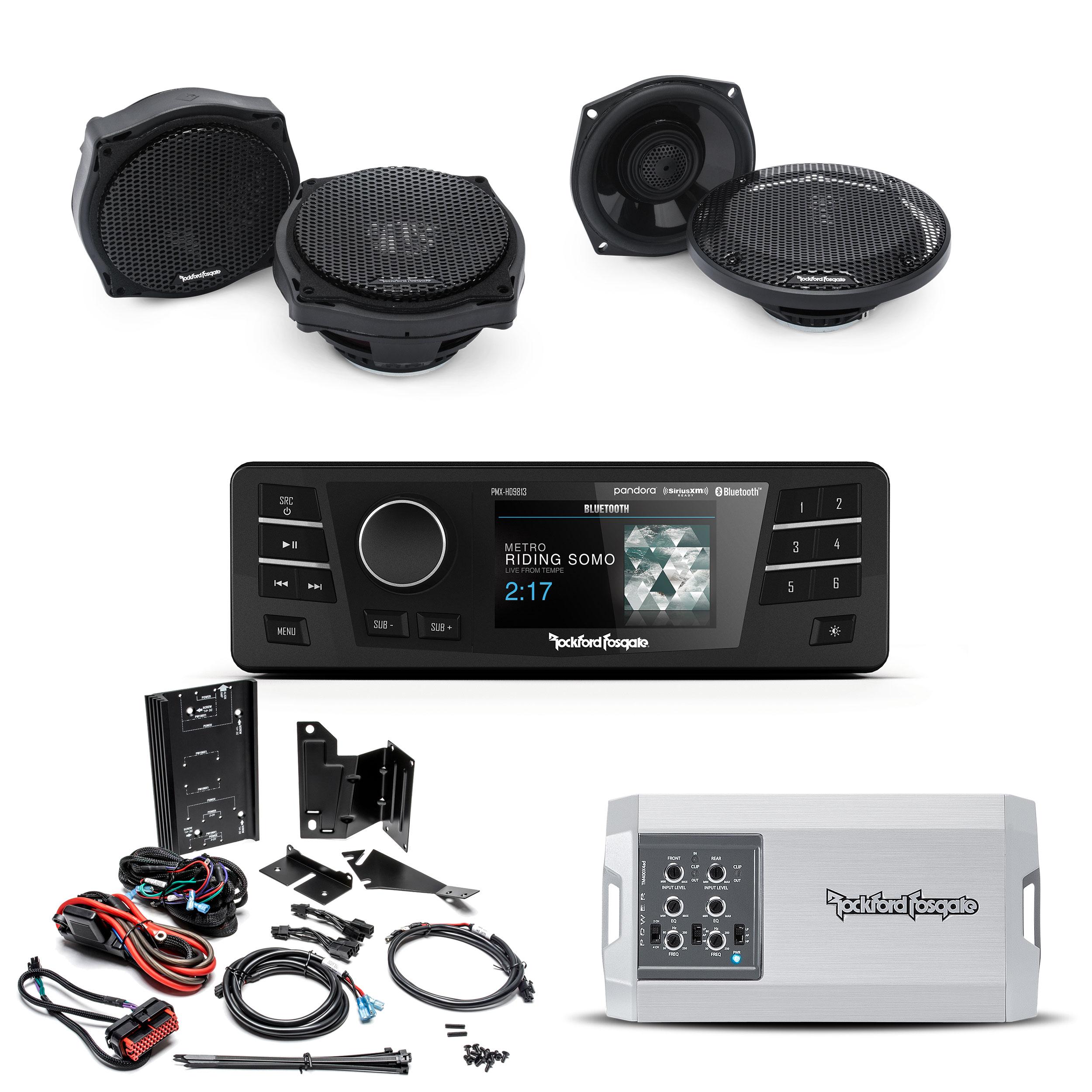 Four Speakers /& Amplifier Kit for 1998-2013 Harley-Davidson Road Glide Rockford Fosgate HD9813RG-STAGE3 Digital Media Receiver