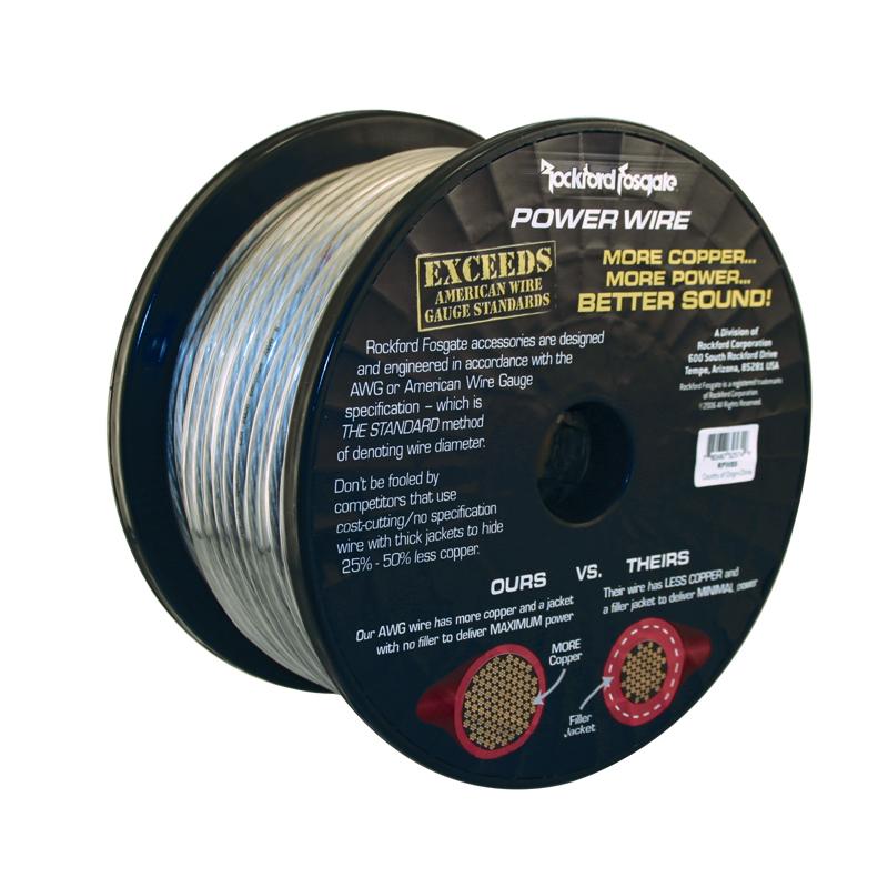 Rockford Fosgate Rfw8b 8 Awg Spool Black 8 Awg Power Wire 250 Foot Spool Black Rfw8b