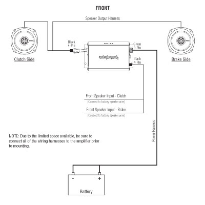 Rockford Fosgate 2 Channel Harley Wiring Diagram rockford fosgate harley davidson 2 speaker stereo kit, 98 13 2008 harley davidson radio wiring diagram at gsmx.co
